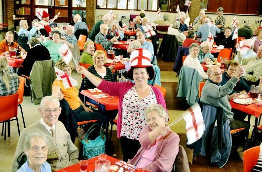 Manager Julie Brindle (centre) helped to organise the St George's Day celebrations at Derwent Hall Luncheon Club, Darwen
