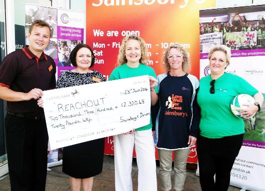 From left, Louis Magari, Sainsbury's Darwen commercial manager, Jaine Burgin, Darwen store manager, Lesley Hall, project manager from Reachout, and Karen Marsden and Susan Harrison from Reachout.