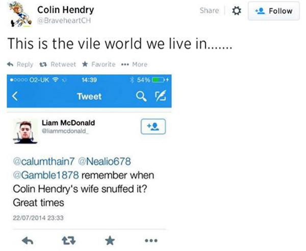 Blackburn Rovers legend Colin Hendry in 'vile' tweet fury
