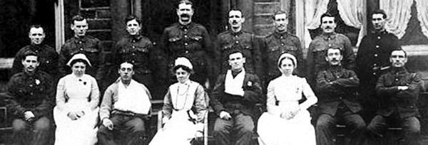 Staff and patients from Fern Hill Auxiliary Military Hospital, Bacup, which cared for 730 injured soldiers during the course of the First World War