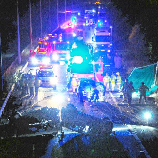 The scene of the crash on the M65 on Saturday