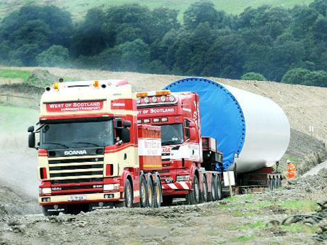 It's an uphill task as lorries wind their way over narrow roads to Coal Clough windfarm