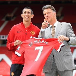 Angel di Maria, left, was unveiled at Old Trafford alongside