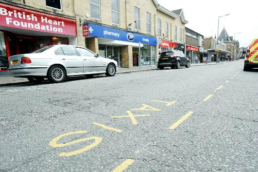 The taxi bays in Market Street which are set to be moved in favour of a return to diagonal parking opposite