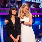 Blackburn Citizen: Tess Daly gives Claudia Winkleman a hug during the Strictly Come Dancing live show