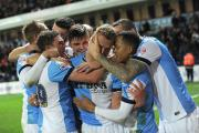 Blackburn Rovers players celebrate with goalscorer Jordan Rhodes during Saturday's victory at home to Leeds