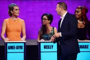 PRIMETIME: Paddy McGuinnesswith Take Me Out contestants Aimee-Jayne, Kelly and Shadz