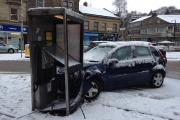 A car crashed into a phone box in Market Street, Bacup